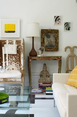 Eclectic Living Room with simple marble floors