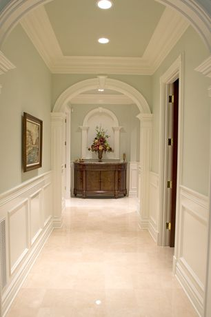 Traditional Hallway with Wainscotting, American olean treymont glazed porcelain field tile in sand, Crown molding