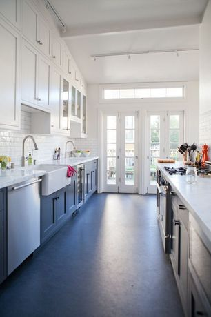 Country Kitchen with French doors, flush light, Flat panel cabinets, Glass panel, Transom window, Inset cabinets, Galley