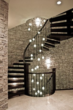 Contemporary Staircase with Spiral staircase, Chandelier, White led can light kit, Floating staircase, High ceiling