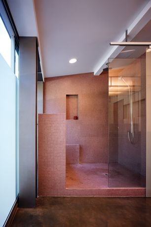Contemporary Master Bathroom with Rain shower, Handheld showerhead, Concrete floors