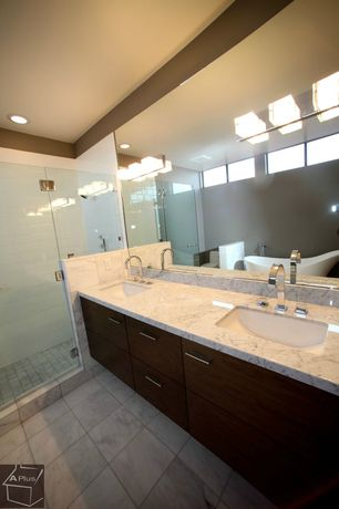 Contemporary Master Bathroom with Complex marble counters, frameless showerdoor, picture window, Shower, European Cabinets