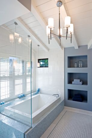 Contemporary Master Bathroom with Exposed beam, picture window, drop in bathtub, Master bathroom, High ceiling, Casement