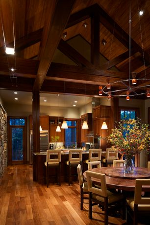 Contemporary Dining Room with French doors, Besa 1XC-512119 Kani Pendant, Exposed beam, High ceiling, Columns, Pendant light