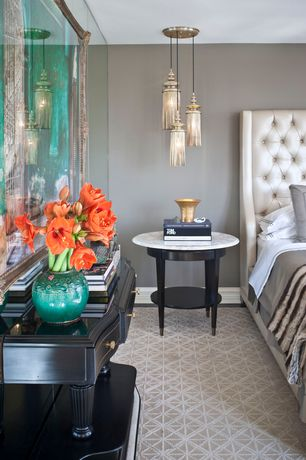 Master Bedroom with Area rug, Berti 2l solid brass/glass pendant, Pendant light, Round marble top coffee table, Paint