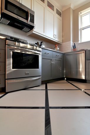Modern Kitchen with Glass panel, Flush, Ms international absolute black granite, Stainless steel counters, Subway Tile