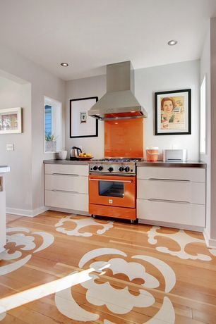 "Eclectic Kitchen with European Cabinets, Paint, Floor decal, Bertazzoni - professional pro304gasar 30"" gas range, can lights"