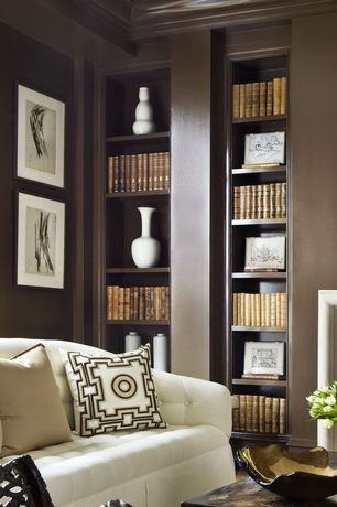 Traditional Living Room with Built-in bookshelf