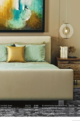 Modern Master Bedroom with Upholstered headboard, Paint, Silk pillows, Reclaimed wood night stand, Pendant light