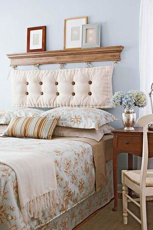 Traditional Guest Bedroom with Sheer curtains, Cedar Hills 18-inch Curved-back Antique White Dining Chairs, Hardwood floors