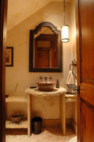 Rustic Powder Room with Elk lighting modern mini-pendant light with beige / cream glass, Powder room, specialty door