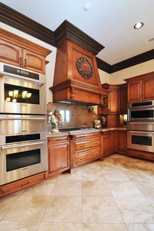 Traditional Kitchen with electric cooktop, Complex Marble, Standard height, L-shaped, Custom hood, can lights, Inset cabinets