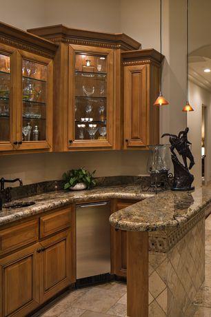 Traditional Bar with Paint, Savoy house pendant, High ceiling, travertine tile floors, Pendant light, stone tile floors