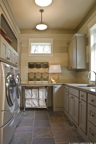 Traditional Laundry Room with Natural stone collection imperial forest 16 in. x 16 in. slate floor and wall tile