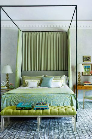 Contemporary Master Bedroom with Custom upholstered louis tufted bench, Metal canopy bed, Crown molding, Carpet, Paint