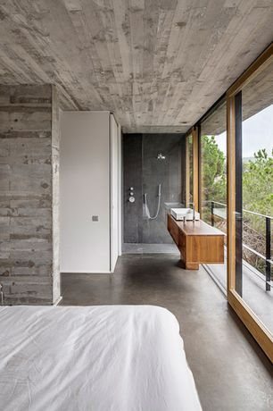 Contemporary Master Bedroom with Scarabeo by nameeks teorema rectangular vessel bathroom sink, Frameless glass showerdoor