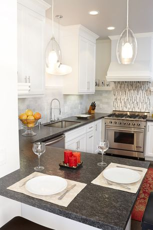 Traditional Kitchen with Breakfast bar, Subway Tile, Ceramic Tile, U-shaped, Undermount sink, Flush, Crown molding