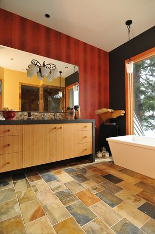 Modern Master Bathroom with Master bathroom, picture window, partial backsplash, Shower, Freestanding, Slate Tile, Bathtub