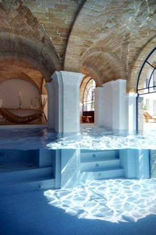 Mediterranean Swimming Pool with Arched window, Eldorado Stone ViaBrick Cortona