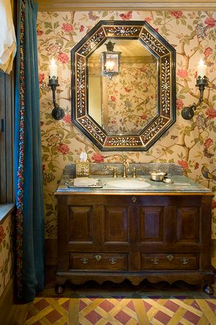 Traditional Full Bathroom with interior wallpaper, Standard height, Slate counters, Casement, Wall sconce, Slate, Full Bath