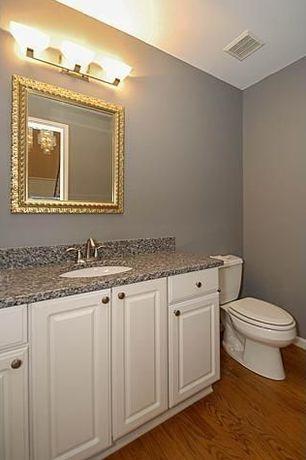 Traditional Powder Room with Pegasus Sircolo Granite Countertop, Tessa Antique Gold Wall Mirror