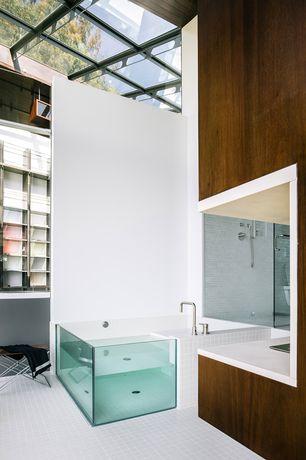 Contemporary Master Bathroom with Paint 1, Bathtub, Skylight, ceramic tile floors, Box ceiling, Corian counters, Wall Tiles