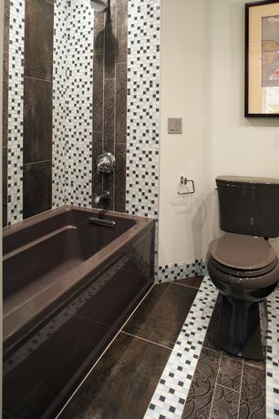 Contemporary Full Bathroom with ceramic tile floors, Pental - Corten Porcelain Tile Collection, tiled wall showerbath