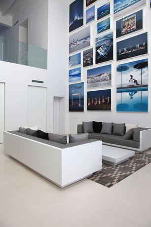 Contemporary Living Room with Carpet, High ceiling, Loft