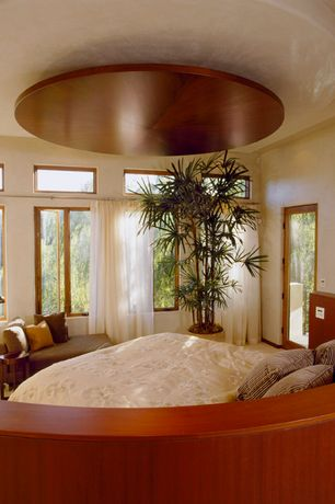 Contemporary Master Bedroom with Carpet, French doors