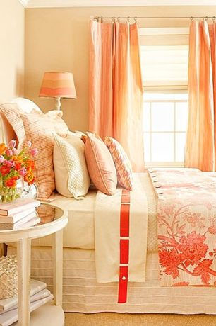 Traditional Guest Bedroom with Crown molding, Decor therapy simplify oval accent table, Carpet, Horizontal sliding window