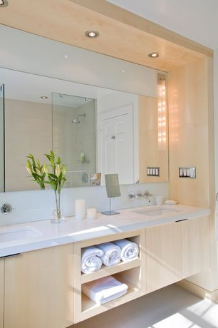 Contemporary Full Bathroom with linen and towel storage cabinet, Corian counters, frameless showerdoor, Double sink, Flush