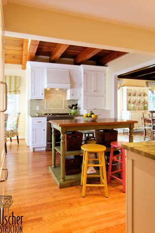 Country Kitchen with Wood counters, Shaker cabinet, Flush, Exposed beam, Hardwood floors, High ceiling, Limestone Tile