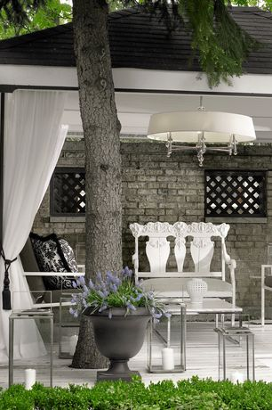 Traditional Porch with Gazebo, Outdoor brick wall, Chandelier, Outdoor curtain
