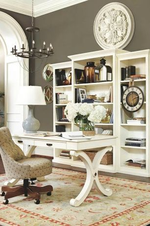 Traditional Home Office with Chandelier, High ceiling, Crown molding, Pottery Barn Floral Wall Medallion (Discontinued)