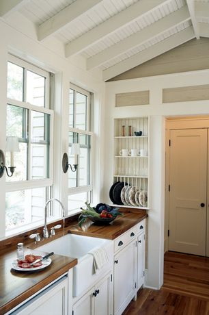 "Country Kitchen with Flat panel cabinets, Norwell newport shaded wall sconce, Reinhard fireclay farmhouse sink 30"", One-wall"