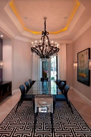 Contemporary Dining Room with Chandelier, Crown molding, sandstone tile floors, Wall sconce, High ceiling