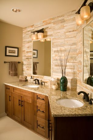 Modern Full Bathroom with Undermount sink, porcelain tile floors, wall-mounted above mirror bathroom light, full backsplash