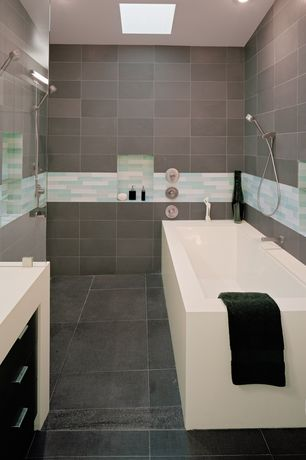 Contemporary Master Bathroom with Flush, Standard height, can lights, Wyndham collection bathtubs, Wall sconce, Ann sacks
