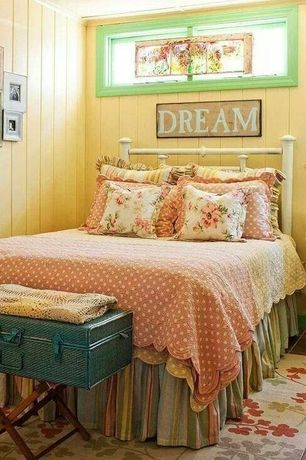 Cottage Master Bedroom with terracotta tile floors, Fire Iron Beds Blake By Wesley Allen Twin Iron Bed, Crown molding