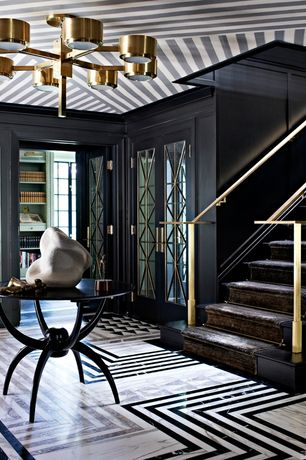 Art Deco Entryway with Chandelier, French doors, Crown molding, simple marble floors