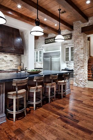 Rustic Kitchen with Pendant light, Exposed beam, Paint 1, Breakfast bar, Flush, Glass panel, Simple granite counters
