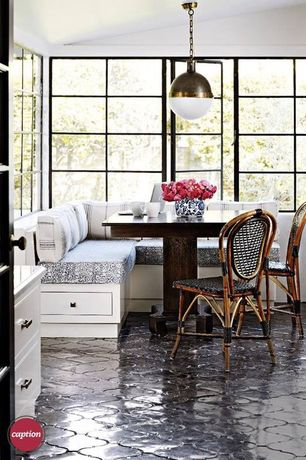 Contemporary Dining Room with Pendant light, Creative furniture wicker cafe chair, Arabesque glazed porcelain mosaic tile
