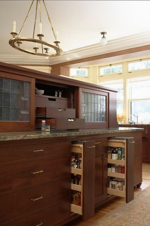 Traditional Kitchen with Arizona tile, rain forest green,  natural stone, marble, Cherry stain finish