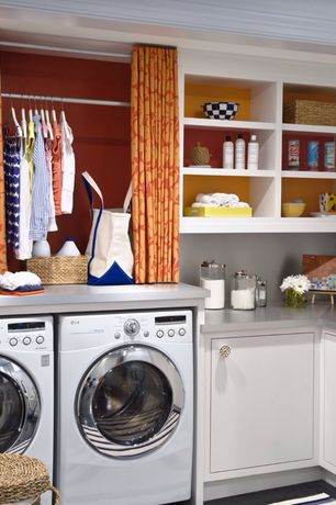 Contemporary Laundry Room with laundry sink, Standard height, Crown molding, Drop-in sink, Hanging Bar, Built-in bookshelf