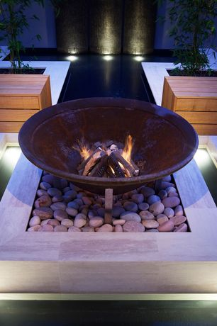 Contemporary Patio with Raised beds, Asia fire pit #10100184, Fire pit