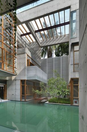 Contemporary Swimming Pool with Trellis, Indoor pool