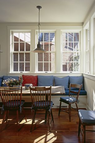 Eclectic Dining Room with Hardwood floors, Pendant light, Window seat, Zuckerman Teak Dining Table
