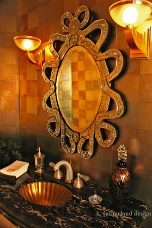 Eclectic Powder Room with Justice Design Group Ambiance Alas Wall Sconce, Powder room, Gold leaf wall paper, Wall sconce