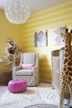 Contemporary Kids Bedroom with Carpet, Original Luxe Glider - Ikat Natural Print Fabric, Moroccan Pouf - Pink Leather