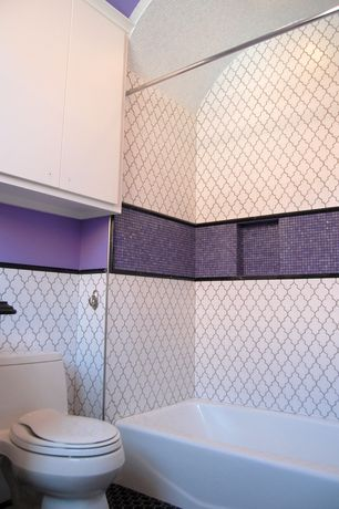 Modern Full Bathroom with Daltile color wave purple magic cw31 mosaic tile, penny tile floors, European Cabinets, Mosaic tile